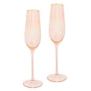 Rose Crystal Champagne Flute Set of 2