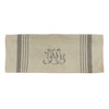Natural Linen W Pale Grey Stripe Monogram Teatowel Grey