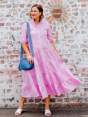 Angelina Frill Linen Dress Pink