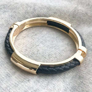 Plaited Hinged Bangle Black