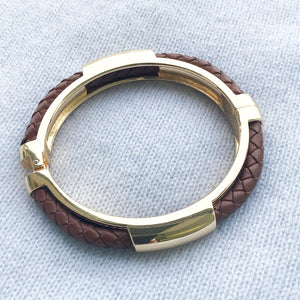 Plaited Hinged Bangle Tan