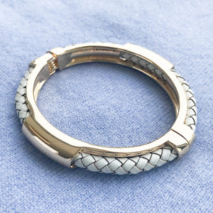 Plaited Hinged Bangle White