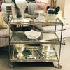 Stainless And Mirrored Bar Cart