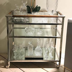Timber And Stainless Bar Cart