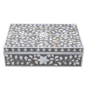 MOP Inlay Box Moghul Flower Grey Large