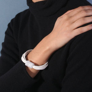 Leather Crystal Clasp Bracelet White