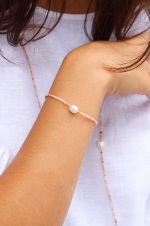Pink Adventurine and Pearl Bracelet
