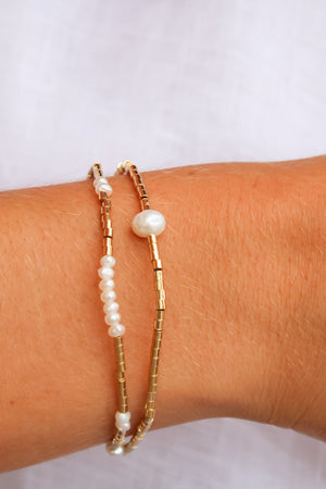 Gold Bead and Pearl Bracelet Set