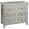 Shalimar Mop Inlay 3-Drawer Chest Floral Grey