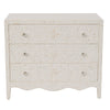 Bone Inlay 3-Drawer Chest W Curved Base White