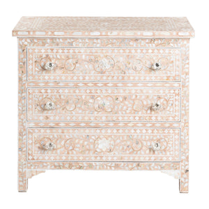 Mother of Pearl Inlay 3 Drawer Chest Pink