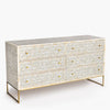 Bone Inlay 6 Drawer Chest Lattice Grey