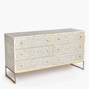 Bone Inlay 6 Drawer Chest Lattice