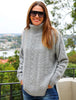 Christina Cable Turtle Neck Jumper Grey