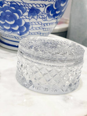 Cut Glass Trinket Dish Clear