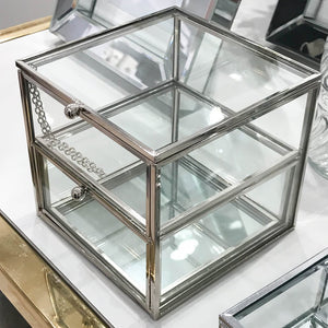 Double Layer Mirror and Glass Jewellery Box