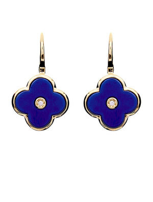 Lappis Blue and Yellow Gold Flower Earrings Gold