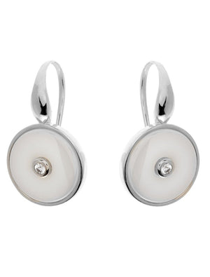 Olivia Rhodium and White Earrings