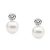 7Mm Freshwater Pearl Earrings W Bezel Set Rhodium