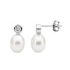 Ss Wh Cz Bezel W Freshwater Pearl Stud Earrings