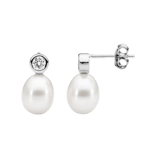Bezel w Freshwater Pearl Stud Earrings