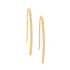 Drop Bar Earrings Gold SS WH CZ