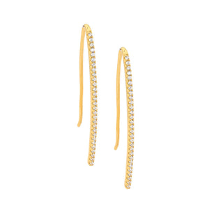 Ss Wh Cz Drop Bar Earrings Gold