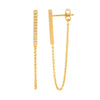 Ss Wh Cz Bar Earrings W Attached Chain Gold