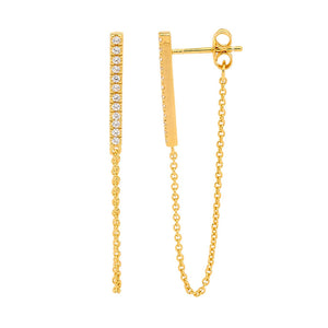 Bar Earrings w Attached Chain - Gold