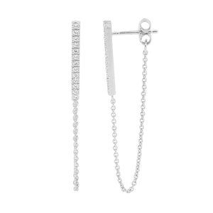 Ss Wh Cz Bar Earrings W Attached Chain Rhodium