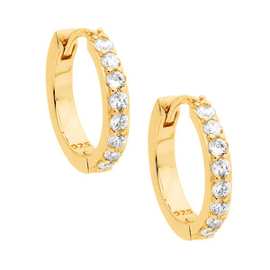 Ss Wh Cz Single Row 15Mm Hoop Earrings Gold