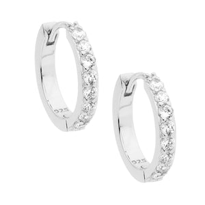 Ss Wh Cz Single Row 15Mm Hoop Earrings Rhodium