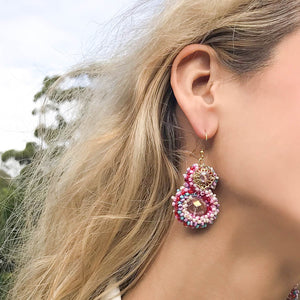 Crystal Crusted Hook Earrings Pink
