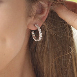 White Crystal Hoops Rhodium