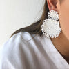 Beaded Fringe Circle Earrings White