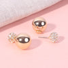 Gold Crystal Crusted Double Studs - Gold