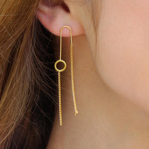 Circle Chain Thread Earrings