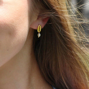Gold Conch Pearl Drop Earrings
