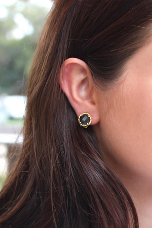 Black Crystal Flower Studs