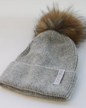 The Jodie Beanie with Fur Pom Pom Grey