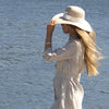 Salander Hat w White Band Wide Ivory
