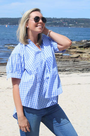 Short Sleeve Kell Gingham Shirt Blue