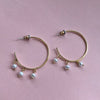 Gold Hoops With Hanging Pearls