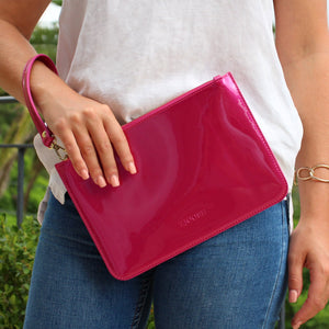 Hayley Clutch Patent Pink
