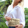Clare Shimmer Clutch Gold