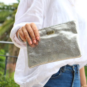Clare Shimmer Clutch Silver