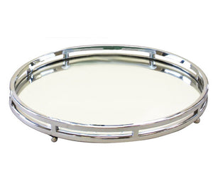 Round Mirrored Tray With Feet Large