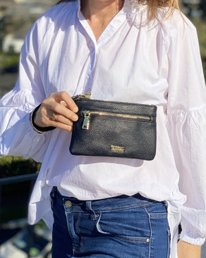 Mama Mia Zip Front Purse Black