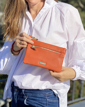 Mama Mia Zip Front Purse Orange