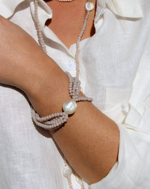 Pearl and Crystal Bracelet Taupe